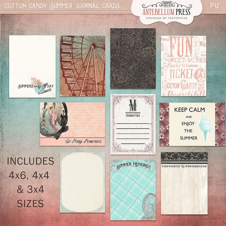 Shoppe Freebie Thru February 15th! - Cotton Candy Summer Journal Cards @ Antebellumpress.com. The rest of this collection on sale for half off till Feb 15th!