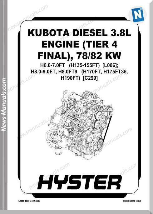 Kubota Diesel 3.8L Engine Final 78-82 Kw Service Manual