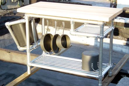 galvanized pipe + fittings + butcherblock = working island