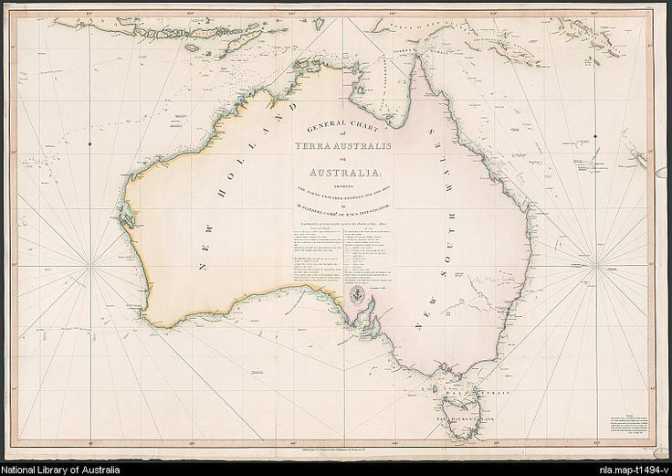 Flinders, Matthew, 1774-1814. General chart of Terra Australis or Australia [cartographic material] : showing the parts explored between 1798 and 1803 by M. Flinders Commr. of H.M.S. Investigator.