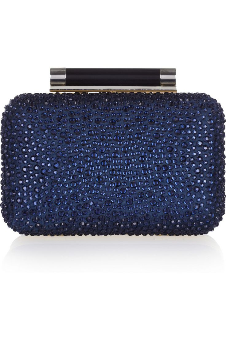Dvf Tonda Crystal Embellished Leather Clutch In A Sparkling Midnight Blue