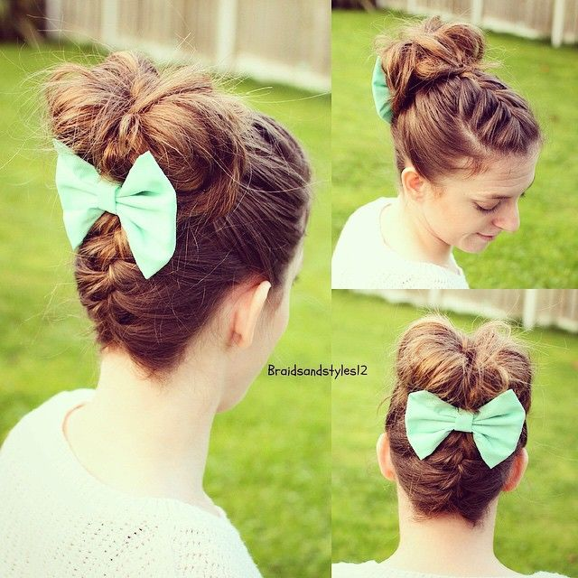 upside down braid into a french braid and messy bun