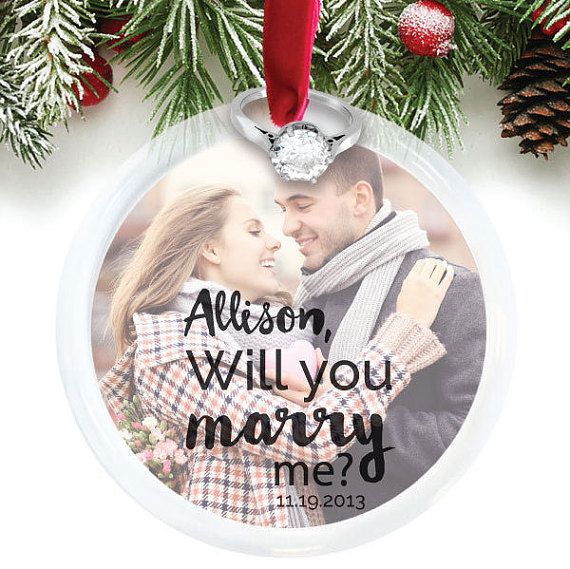 Christmas Engagement, Personalized Photo Ornament, Proposal Ornament, Will You Marry Me Ornament, Holiday Proposal Idea // C-P67-OR ZZ2