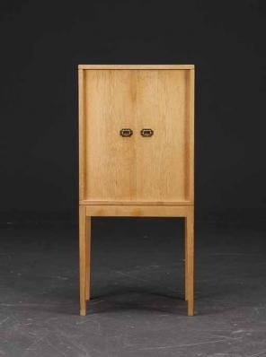 Danish oak cigar cabinet by Ole Wansher. Superb and unusual piece that rarely shows up.