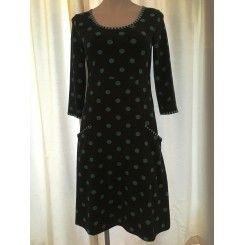 Charles - Signe Dots -  Sort kjole med blå prikker