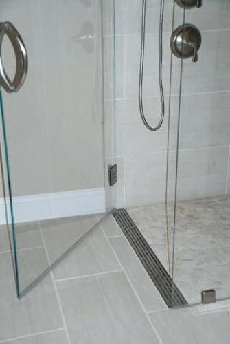 shower pan curbless with a linear drain at the door kerdi kit