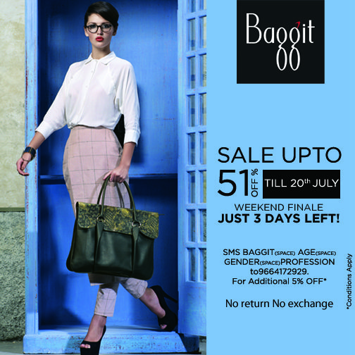 Sale Weekend Finale- Just 3 days left! Shop Now at www.baggit.com