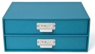 Bigso Basix Paper Drawers, Turquoise - contemporary - Home Office Accessories - The Organizing Store