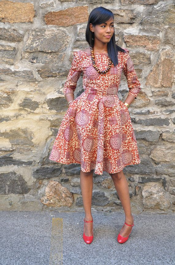 African Print Dress  Jackie O  Dress by CHENBURKETTNY on Etsy