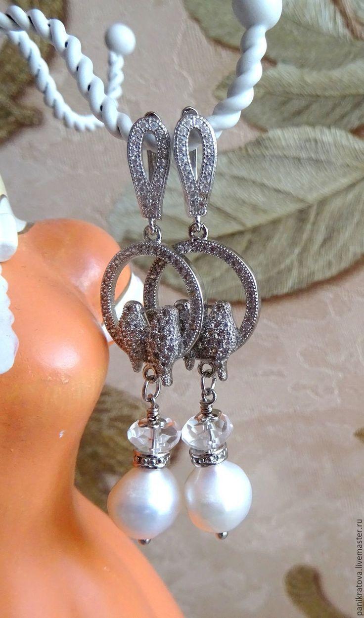 """Купить Серьги """"Птички 2"""" (жемчуг, горный хрусталь, фурнитура LUX) - серебряный, серебристый"""