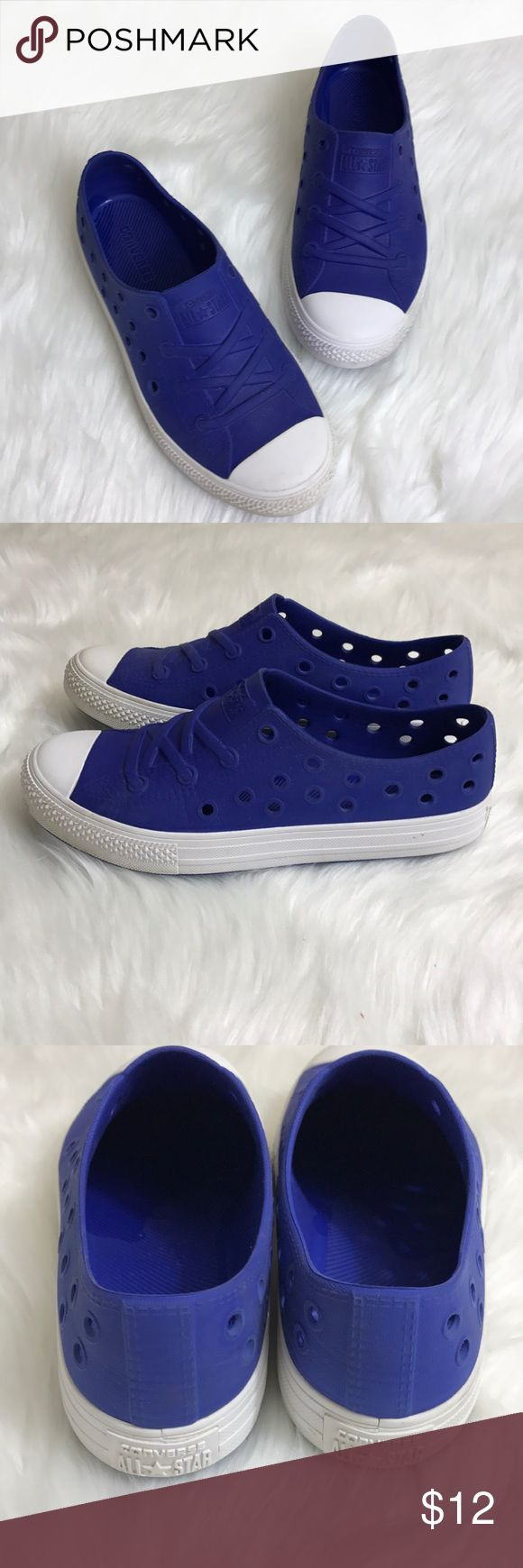 Converse Blue All Rubber Shoe Gently used with normal kid wear. All rubber blue Converse shoes with holes on sides. Great shoes for beach, water park or anywhere else your little one likes to get wet. No laces so they are easy to get on and off! Converse Shoes