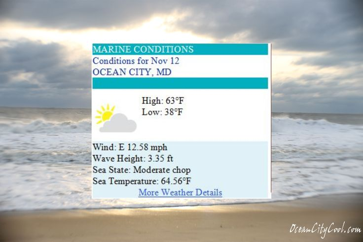 Ocean City MD Weather Forecast for Wednesday, Nov 12, 2014 - Warm day and then grab a scarf & some mittens...  #ocmd