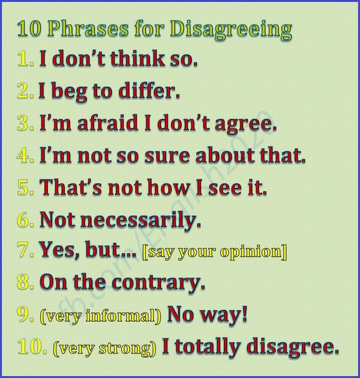 10 Phrases for Disagreeing