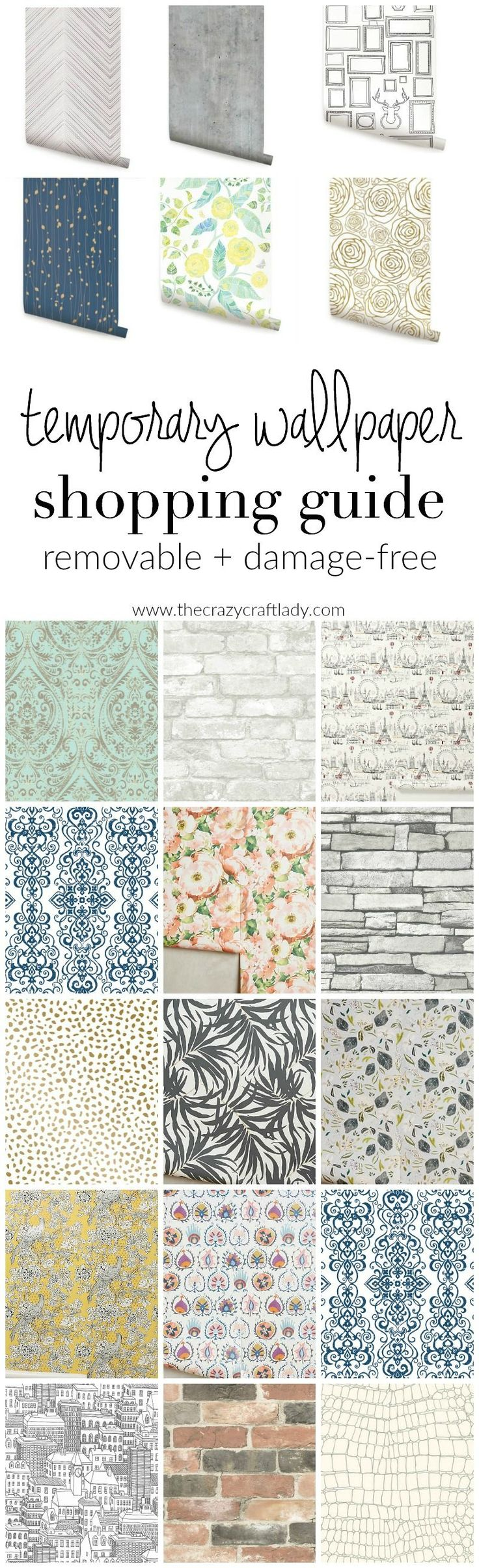 Temporary Wallpaper Shopping Guide - Peel and stick wallpaper comes in a variety of colors and patterns. Here are my favorite sources for AFFORDABLE removable wallpaper.