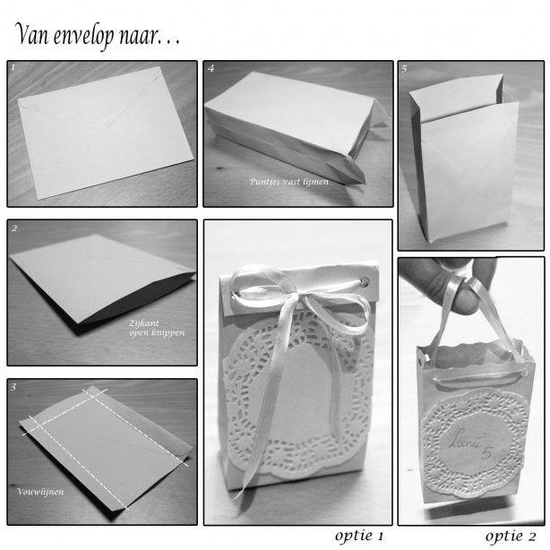 Van envelop naar een leuke giftbag of tasje. Het tasje heb ik al eens gebruikt voor de verjaardag van mijn dochter. Uitnodiging erin en een paar snoepjes.. succes verzekerd!