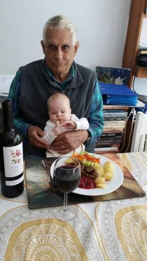 Grandpa and Sofie are learning wine culture