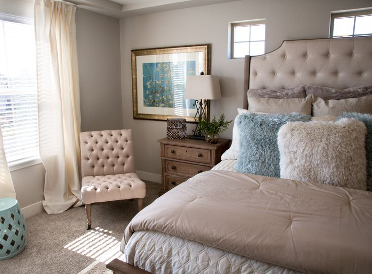 The master bedroom of the St. Jude Dream Home in Commerce City is the epitome of whimsical romance awash in relaxing neutrals and aqua blue hues.   #stjudedreamhome #masterbedroom