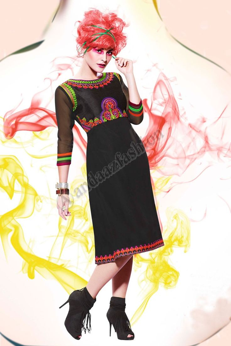 Boho tunic top blouses and dress 4009 trendy boho vintage gypsy - Black Art Silk Georgette Kurti Design No Dmv12795 Price 35 00 Dress Type