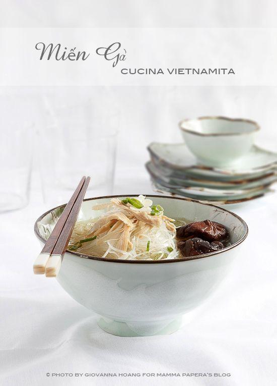 Cucina vietnamita - mien ga - spaghetti di soia in brodo di pollo con funghi shitake