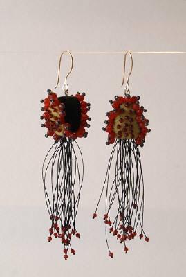 Yael Krakowski  Felt Earrings #5  Red agate, felt, glass beads, 14k gold.WONDERFUL!!!