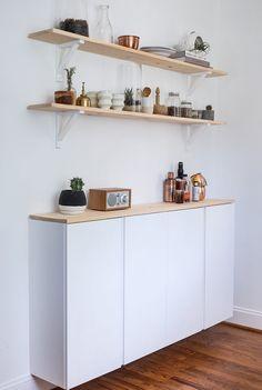 10 idées pour se fabriquer une enfilade ou un buffet avec des caissons premier prix Ikea Ivar.