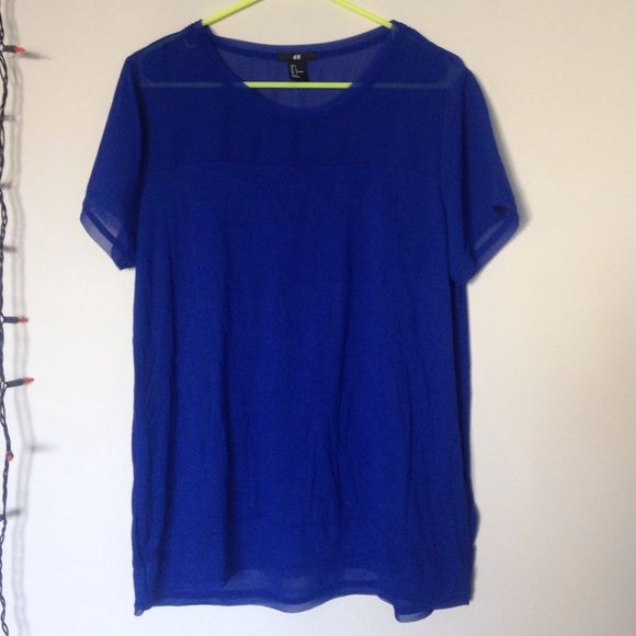 H&m tshirt with netting Royal blue h&m comfy tshirt material shirt, sheer betting on shoulders & sleeves and bottom on both front and back, only worn a few times H&M Tops Tees - Short Sleeve
