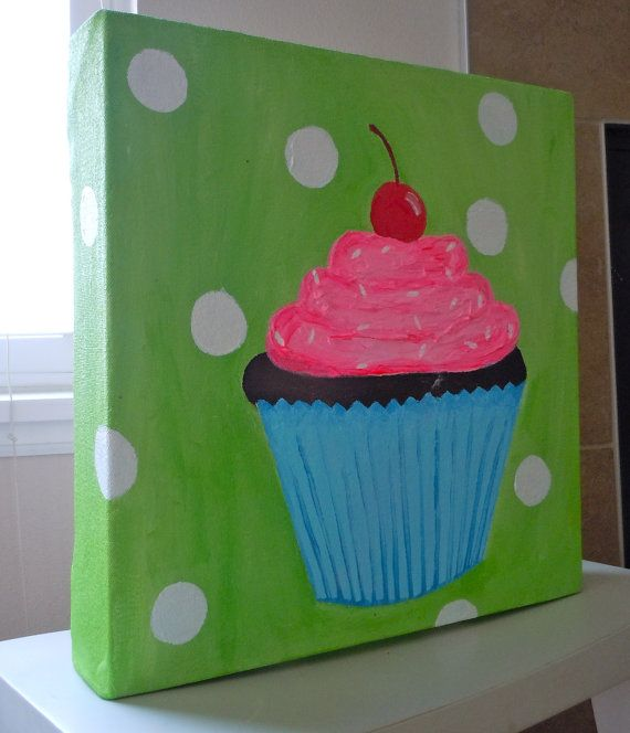 Cute pink and blue cupcake canvas