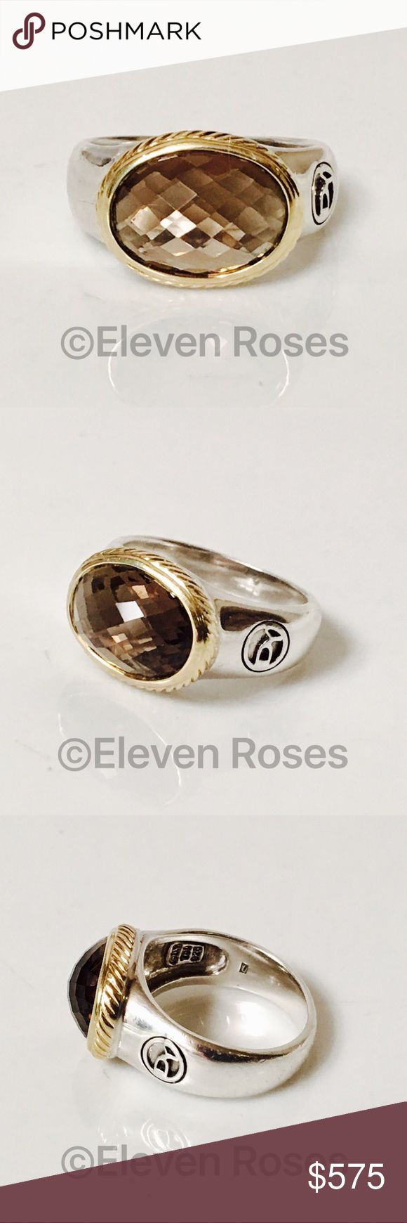 David Yurman Sterling & 18k Gold Smoky Quartz Ring David Yurman Smoky Quartz Ring - 925 Sterling Silver & 750 18k Yellow Gold - US Size 7 - Preowned / Preloved  💕 May Show Slight Signs Of Having Been Worn.   📷  Listing Images Are Of Actual Item Being Offered David Yurman Jewelry Rings