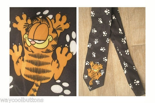 GARFIELD CAT PAWS 100% POLY FABRIC NECKTIE TIE | eBay