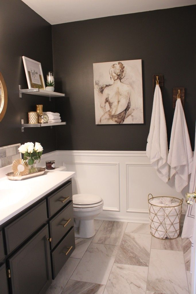 gray vanity, gold hardware                                                                                                                                                     More