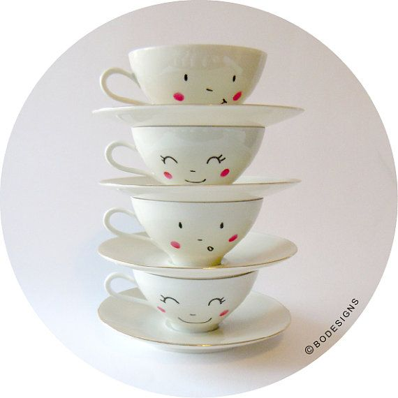 4 vintage hand painted smiling faces cups with door BodesignsSHOP, €26.00 by bodesigns