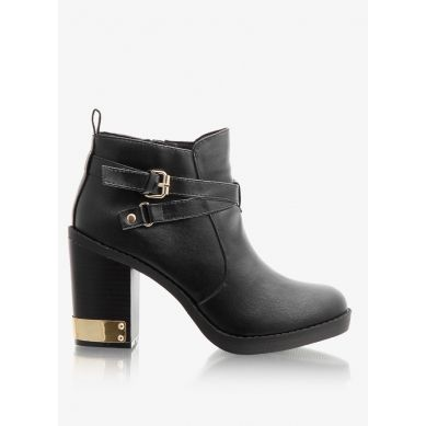 Botki Gold Heel And Clip Black