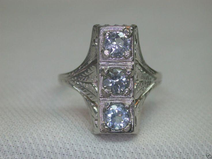 Antique Art Deco Aquamarine Engagement Ring 1CT SZ 5.75 UK L Vintage Estate  18K