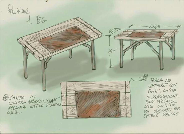 Disegno di studio per la realizzazione di una scrivania realizzata solo con materiali recuperati in un cantiere edile.