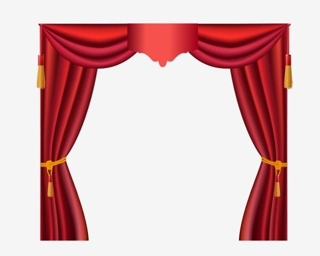 Red Curtain Transparent Frame Curtains Vector Red Curtains Stage Curtains