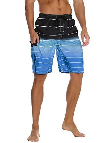 0f51ed97f6e Nonwe Men's Beachwear Summer Holiday Swim Trunks Quick Dry Striped ...