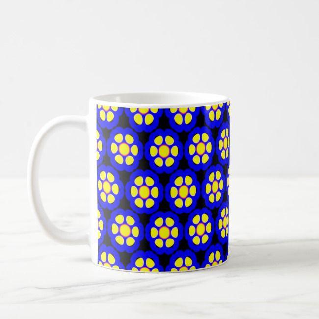 Cute Blue And Yellow Flower Pattern Coffee Mug Blueyellowblack Flowers Cute Fun Colorful Art Fractals Patterns Typograph Yellow Flowers Cute Mugs Mugs