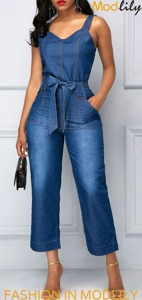 7d8be34bbbe4 Wide Strap High Waist Pocket Blue Jumpsuit On Sale. Shop fashion jumpsuits  at Modlily. Action now!
