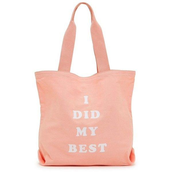Ban.do I Did My Best Canvas Tote ($25) ❤ liked on Polyvore featuring bags, handbags, tote bags, i did my best, red canvas tote bag, handbags totes, pink tote bags, canvas handbags and pink purse