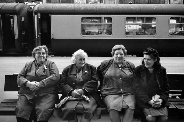 Cleaners, taking a break, at Liverpool St. - Tony Bock 1970s