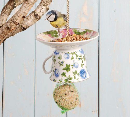 Vintage Teacup Bird Feeder