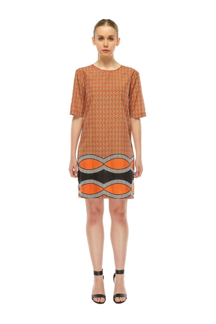 TimiAlaere - Easy Fit Shift Dress - Excl.Orange Water Drop Print