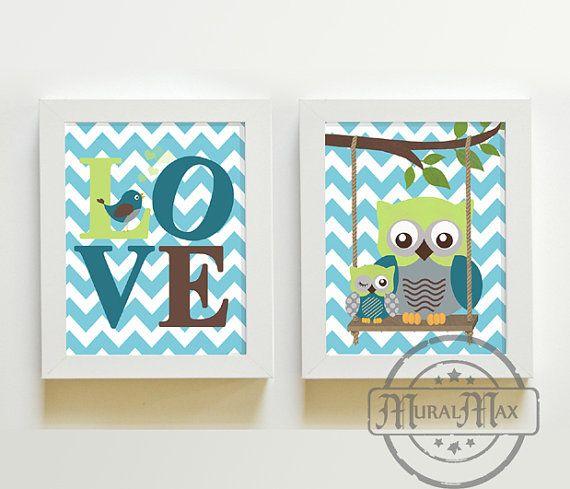 Nursery Decor - Owl Decor - Owl Nursery - Baby Boy Nursery Art - Nursery Wall Art - Baby Nursery Kids Room Decor - Kids Art Boy Print Set on Etsy, $35.00