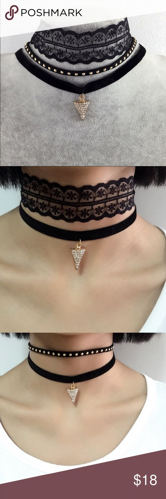 LOWERED*** 3/pcs Triangle Set Choker New Fashion Black Velvet Choker With Triangle Pendant Jewelry Necklaces