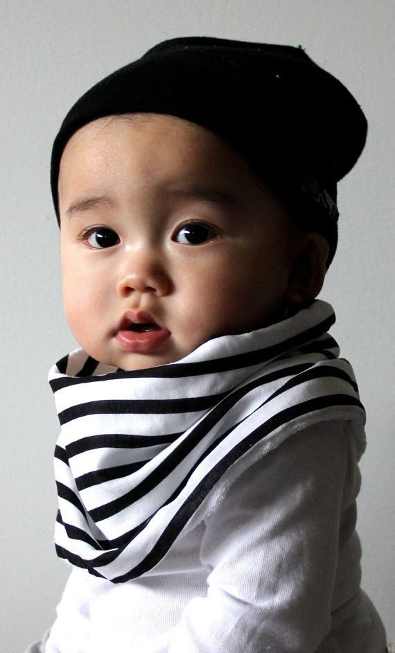 Modern Bib Black/White Stripes All in One Scarf & Bib by Scabib