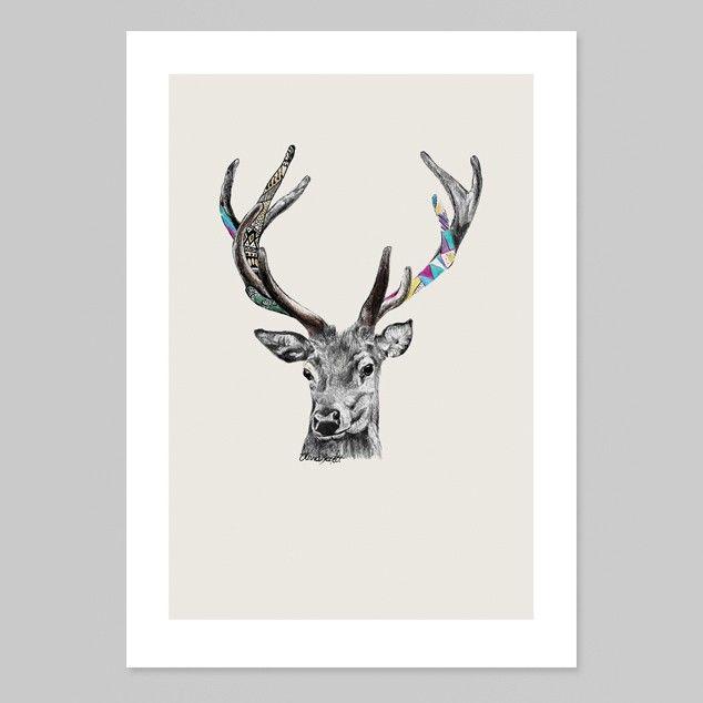Stags Head Art Print by Olivia Bezett