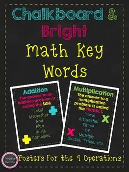 This *FREE* packet contains 4 posters for each of the mathematical operations - addition, subtraction, multiplication, & division.These colorful chalkboard themed posters are perfect for your math focus wall, math word wall, and back to school!Each poster provides a variety of key words for each operation.Check out my coordinating Skip Counting Posters!