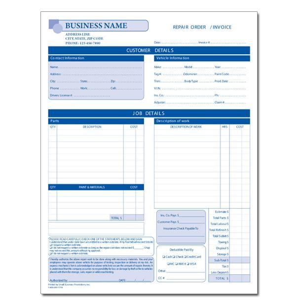 automotive repair invoice