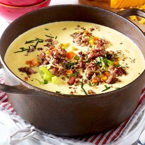 Käse-Lauch-Suppe mit Hack - so geht's