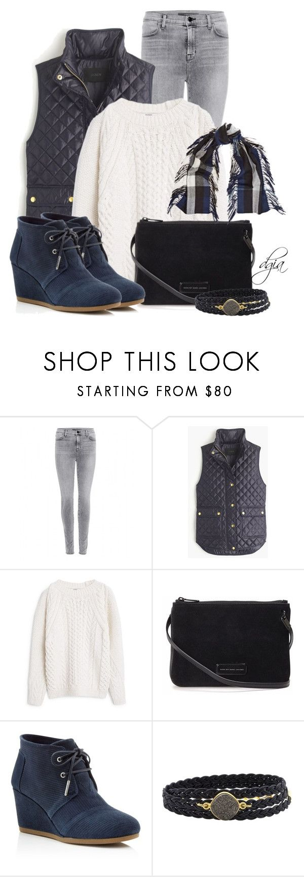 """""""Toms Wedge Booties"""" by dgia ❤ liked on Polyvore featuring J Brand, J.Crew, MANGO, Marc by Marc Jacobs, TOMS, Alexandra Beth Designs and Burberry"""